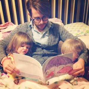 Reading the book aloud to my girls the night the first printer's proof came in the mail.